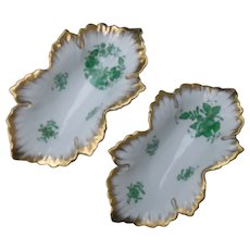 Pair Herend Green Chinese Bouquet Leaf Dish