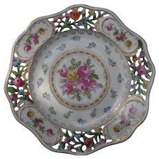 Vintage Carl Thieme Dresden Reticulated/Pierced Floral Plate
