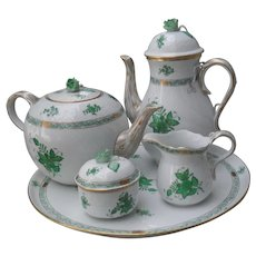 Herend Green Chinese Bouquet Coffee and Tea Service