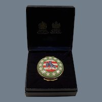 """Halcyon Days Enamels Tiffany """"The College of Arms"""" Pill Box"""