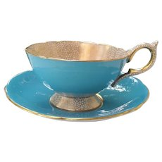Gorgeous Aynsley Turquoise and Gold Teacup and Saucer
