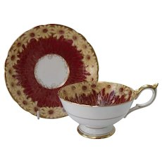 Stunning Aynsley Burgundy Daisy Teacup and Saucer