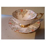 Royal Stafford 'Jessamine' Gold Deco Teacup and Saucer