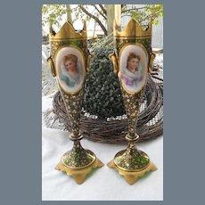 Antique Pair of Moser Portrait Mantel Vases Gold Encrusted