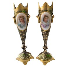 Antique Pair of Moser Portrait Mantel Vases Gold Encrusted