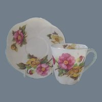 Vintage Shelley Begonia Demitasse Cup and Saucer