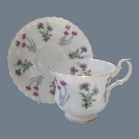 Royal Albert Ullswater Thistle Teacup and Saucer