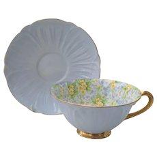 Shelley Oleander Primrose Blue Teacup and Saucer 13588