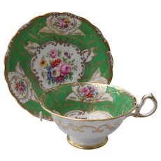 Commanding Royal Chelsea Green Floral Gold Teacup and Saucer