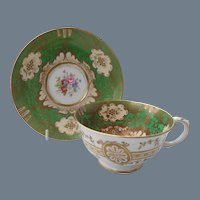Elegant Crown Staffordshire Green Floral Teacup and Saucer