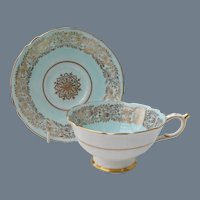 Paragon DW Robins Egg Blue Gold Teacup and Saucer