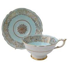 Paragon DW Robins Egg Blue Gold Teacup and Saucer