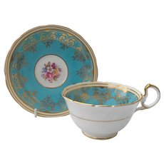 Aynsley Teal and Pink Floral Teacup and Saucer
