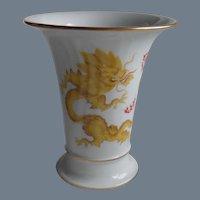Rare Meissen Yellow Dragon Ming Trumpet Vase