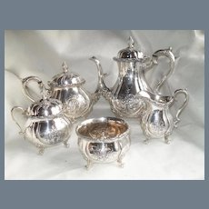 Wilcox International Silver Du Barry Tea and Coffee Set 5 Pieces