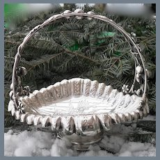 Antique Middletown Co Leaf and Berry Quadruple Silver-plate Basket