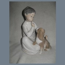 Lladro Boy with Dog Shh Quiet Puppy Figurine 4522