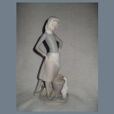 Lladro Shepherdess Girl with Milk Pail Figurine 4682