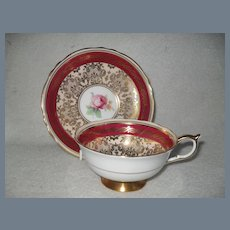 Paragon DW Burgundy Red and Gold Cabinet Teacup and Saucer A1153