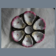 Antique Continental 6 Well Oyster Plate