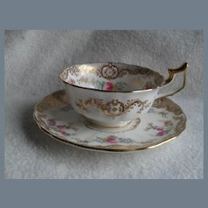 Cauldon England Gold Encrusted Roses Cabinet Teacup and Saucer