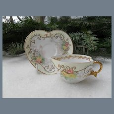 Antique Elite Works Limoges Heart Demitasse Cup and Saucer