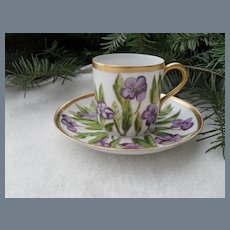 Sweet Haviland Limoges Violets Demitasse Cup and Saucer