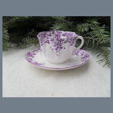 Rare Shelley Dainty Mauve Teacup and Saucer 051/M