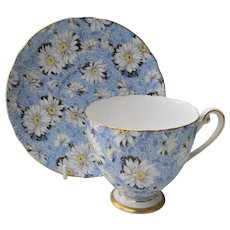 Vintage Shelley 'Blue Daisy' Chintz Teacup and Saucer 13413