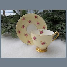 Rare Shelley 'Hulmes Rose' Teacup and Saucer