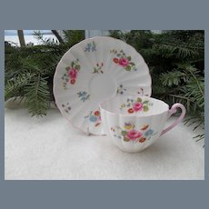 Shelley 'Rose and Red Daisy' Teacup and Saucer 13425