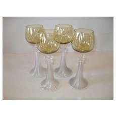 Rare Antique Venetian Spun Glass Roemer Wine Glass (4)