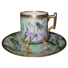 Antique Handpainted Purple Violets Gold Demitasse Cup and Saucer