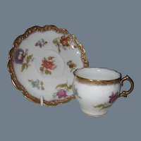Antique Limoges HP Florals Gold Demitasse Cup and Saucer