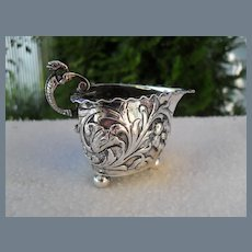 Sterling Hanau Germany Silver Heart Repousse Individual Creamer Snake Handle