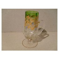 Antique Gold Enamel Emerald Glass Kiddush Cup