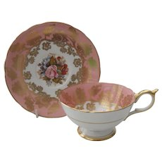 Aynsley Footed Pink Rose Floral Gold/Gilt Teacup and Saucer JA Bailey
