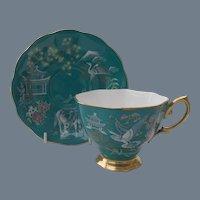 Royal Albert Chinoiserie Pagoda Horse Teal Teacup and Saucer