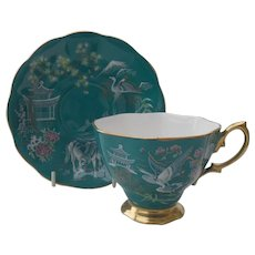 Royal Albert Chinoiserie Pagoda Horse Teal Teacup and Saucer
