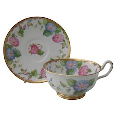 Royal Chelsea Morning Glory Teacup and Saucer