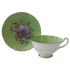 Vintage Royal Grafton Green Orchard Fruit Teacup and Saucer