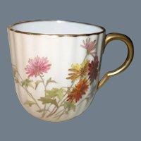 Antique Royal Worcester Blush Floral Demitasse and Saucer W 3649