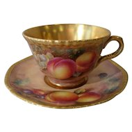 Royal Worcester Fruit Study Gold Teacup/Saucer Telford