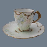 Antique Limoges Gold Encrusted Floral Demitasse Cup and Saucer