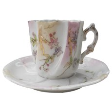 Early Unmarked Handpainted Pink Flowers Demitasse Cup and Saucer