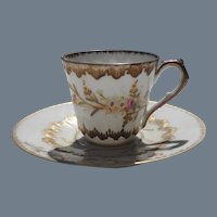 Antique Limoges Klingenberg Demitasse Cup and Saucer