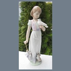 Rare Lladro Summer Stroll Girl Bird Cat Figurine 7611