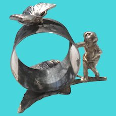 Victorian Victor Silver Co Silver Cherub and Butterfly Napkin Ring