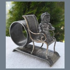 Rare Victorian Middletown CT Silver Girl on Chair Napkin Ring