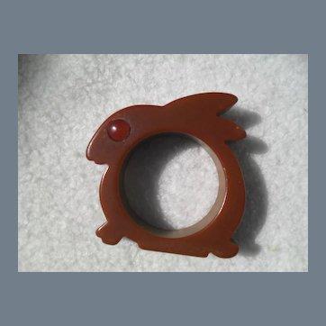 Sweet Brown Rabbit Amber Eye Bakelite Napkin Ring